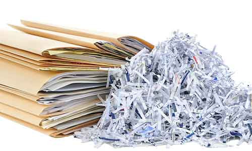 Business paperwork that needs to be shredded.